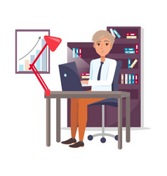 Male sitting at workplace and typing on laptop vector