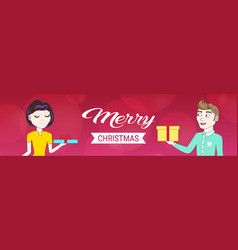 man woman couple holding gift boxes for each other vector image