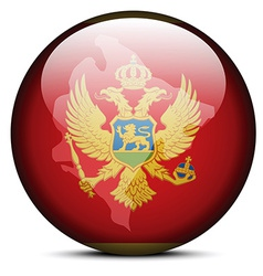 Map on flag button of Montenegro vector image