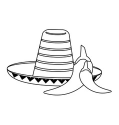 mexican hat and chillis in black and white vector image