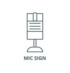 mic sign line icon linear concept outline vector image