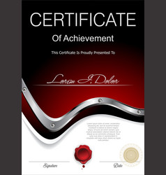 modern black and red industrial certificate or vector image
