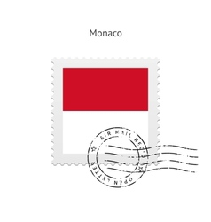 Monaco Flag Postage Stamp vector image