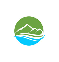 mountain and water logo business template vector image