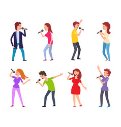 music singers male and females performers set vector image
