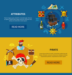 pirate horizontal banners vector image
