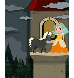 Princess and unicorn in the tower vector