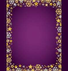 Purple christmas card with border of golden and vector