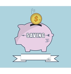 Putting Money Coin Into Piggy Bank Flat Design vector image