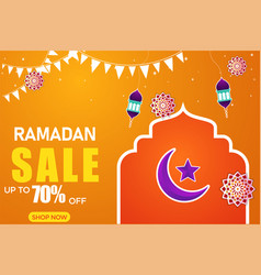Ramadan sale banner discount label sale greeting vector