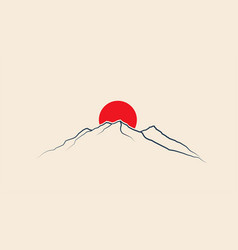 red sun above mountains line silhouette japan vector image