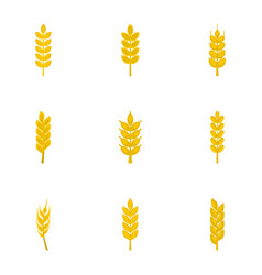 Ripe ears icon set flat style vector