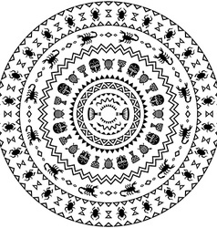 Round ornament with animals vases drums vector