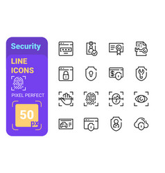 safety and protection in digital space line icons vector image