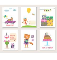 set birthday greeting cards design with cartoon vector image