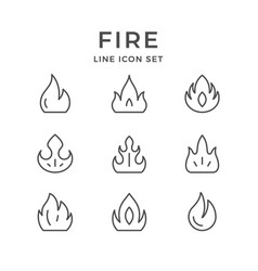 set line icons of fire vector image