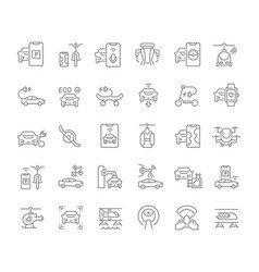 Set line icons transport technology vector