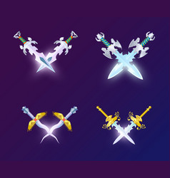 Set of crossed magic weapon vector