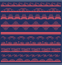 set of lace paper with floral and decorative vector image