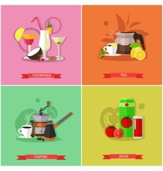 set of popular drinks flat design vector image
