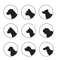 Set of silhouette dogs heads vector