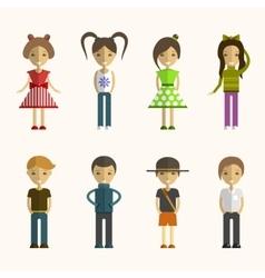 set people cartoon characters in flat vector image