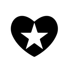 shooting star in black heart valentines day vector image