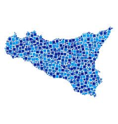 Sicilia map collage of pixels vector