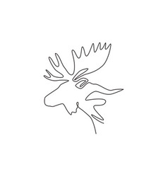 single continuous line drawing sturdy moose vector image