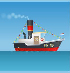 sinterklaas steamboat isolated vector image