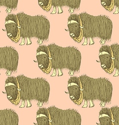 Sketch fancy yak in vintage style vector image