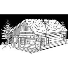 Snow cabin vector