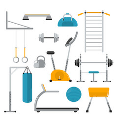 sport equipment flat icons isolated on white vector image
