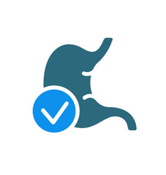 Stomach with tick checkmark colored icon healthy vector