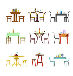 Tables and chairs icons of restaurant cafe vector