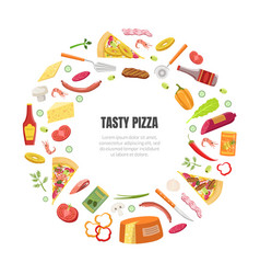tasty pizza banner template with cooking vector image
