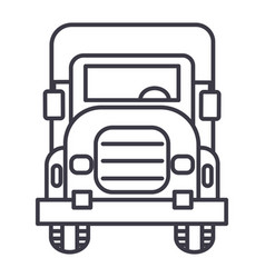 truck front view line icon sign vector image