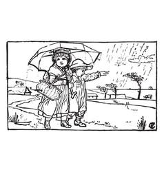 Two children walking under an umbrella vintage vector