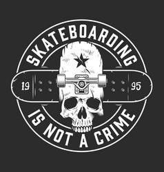 Vintage skateboarding monochrome round emblem vector