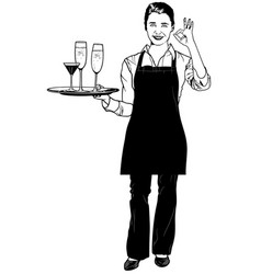 waitress holding a tray and gesturing delicious vector image