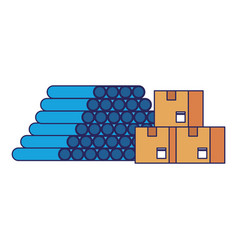 Warehouse pvc pipes and delivery boxes blue lines vector