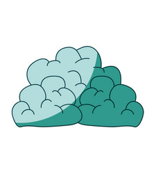 Watercolor silhouette with mass of clouds on vector