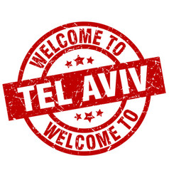 welcome to tel aviv red stamp vector image