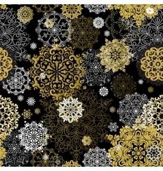 Winter golden black seamless pattern vector image