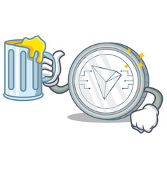 With juice tron coin character cartoon vector