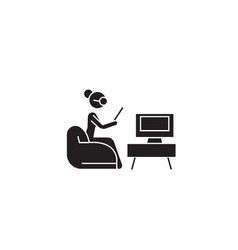 woman knitting black concept icon woman vector image