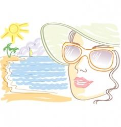 Woman sunglasses vector