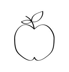apple fresh fruit drawing icon vector image