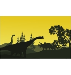 At moorning triceratops and brachiosaurus vector image