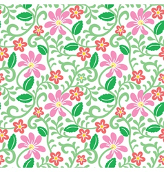 floral seamless pattern with pink flower vector image vector image